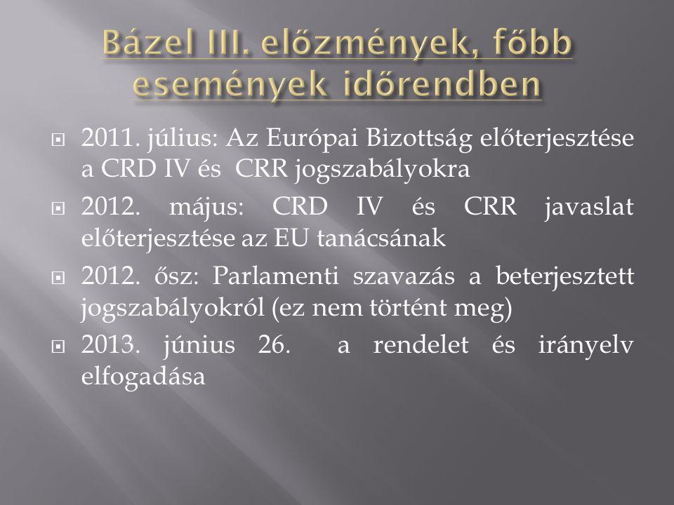  2011. július: Az Európai Bizottság előterjesztése a CRD IV és CRR jogszabályokra  2012. május: CRD IV és CRR javaslat előterjesztése az EU tanácsán