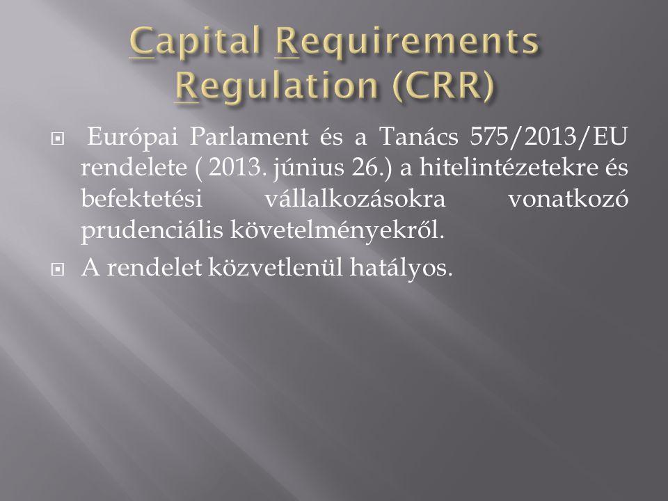  Európai Parlament és a Tanács 575/2013/EU rendelete ( 2013. június 26.) a hitelintézetekre és befektetési vállalkozásokra vonatkozó prudenciális köv