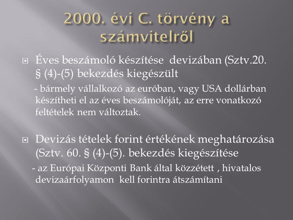  Éves beszámoló készítése devizában (Sztv.20. § (4)-(5) bekezdés kiegészült - bármely vállalkozó az euróban, vagy USA dollárban készítheti el az éves