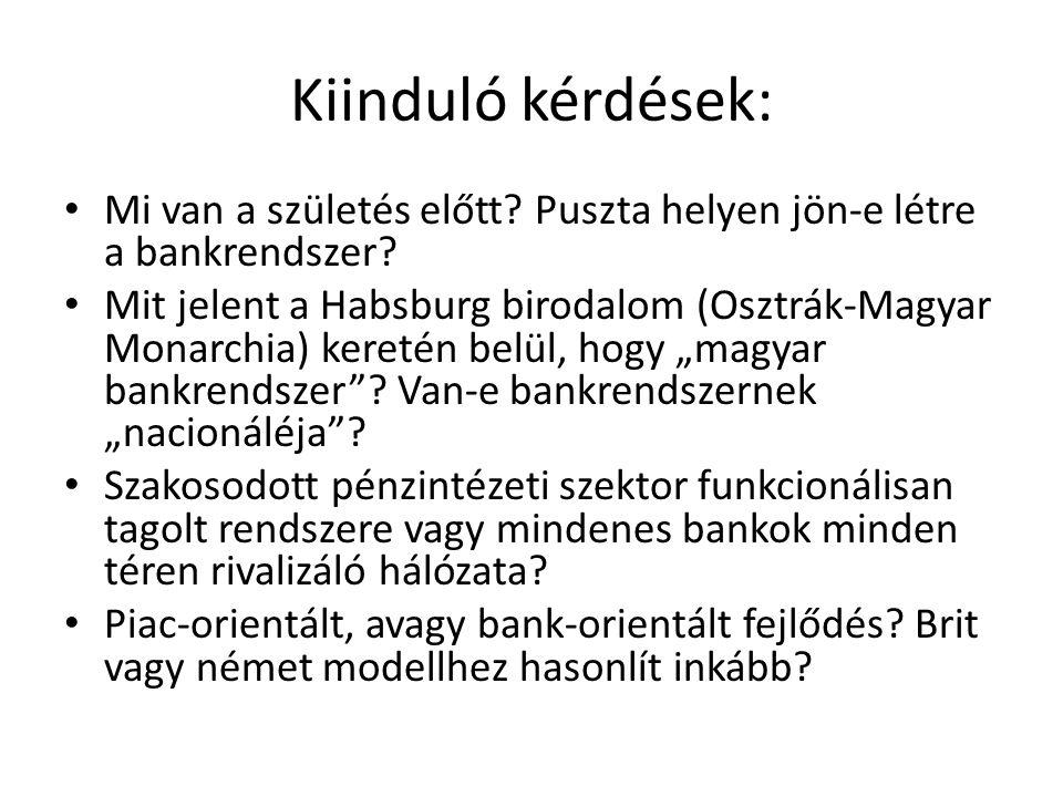 Kiinduló kérdések: • Mi van a születés előtt? Puszta helyen jön-e létre a bankrendszer? • Mit jelent a Habsburg birodalom (Osztrák-Magyar Monarchia) k