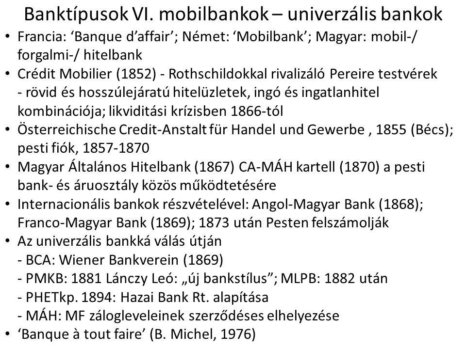 Banktípusok VI. mobilbankok – univerzális bankok • Francia: 'Banque d'affair'; Német: 'Mobilbank'; Magyar: mobil-/ forgalmi-/ hitelbank • Crédit Mobil