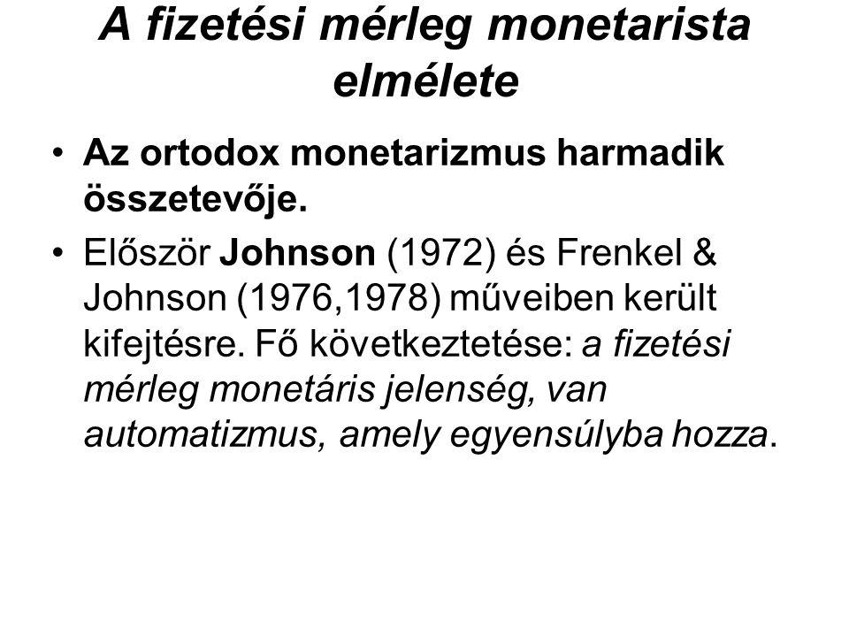 A fizetési mérleg monetarista elmélete •Az ortodox monetarizmus harmadik összetevője. •Először Johnson (1972) és Frenkel & Johnson (1976,1978) műveibe