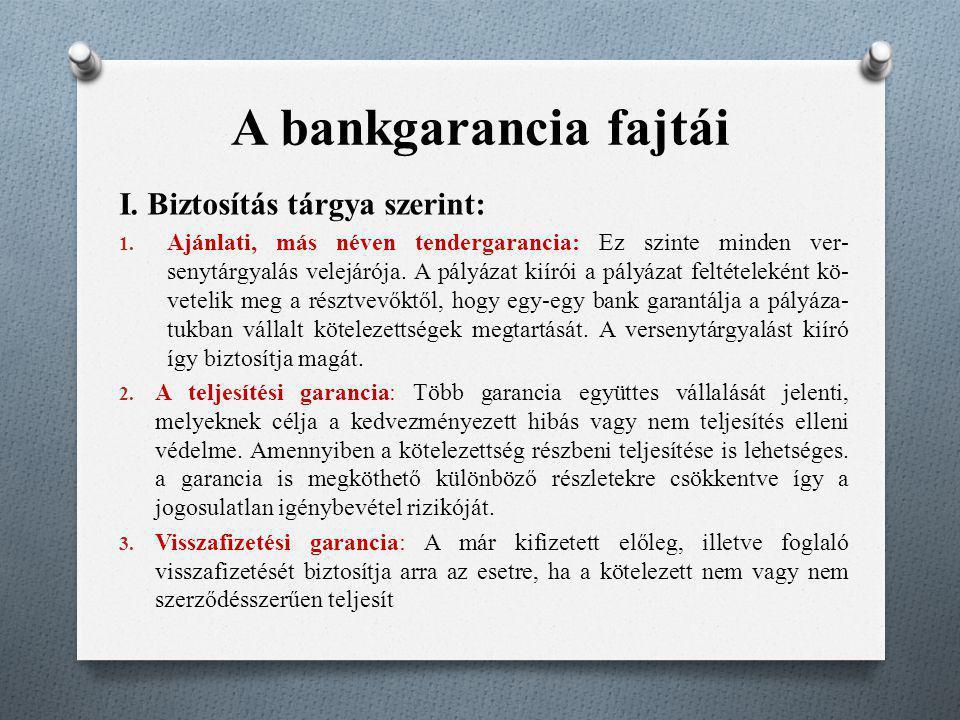 A bankgarancia fajtái I. Biztosítás tárgya szerint: 1. Ajánlati, más néven tendergarancia: Ez szinte minden ver senytárgyalás velejárója. A pályázat