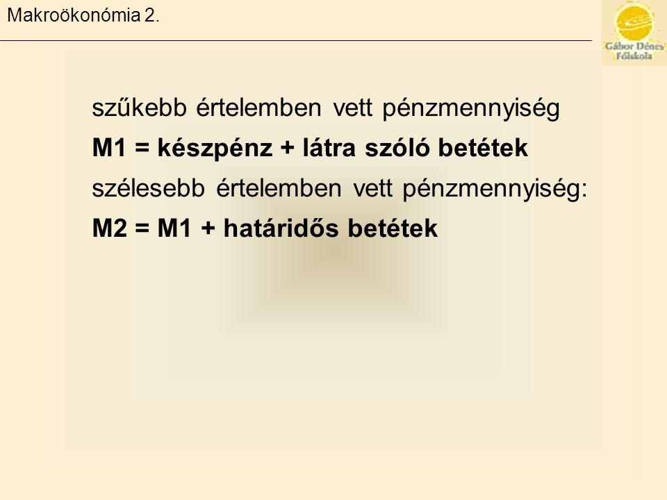 Makroökonómia 2. szűkebb értelemben vett pénzmennyiség M1 = készpénz + látra szóló betétek szélesebb értelemben vett pénzmennyiség: M2 = M1 + határidő