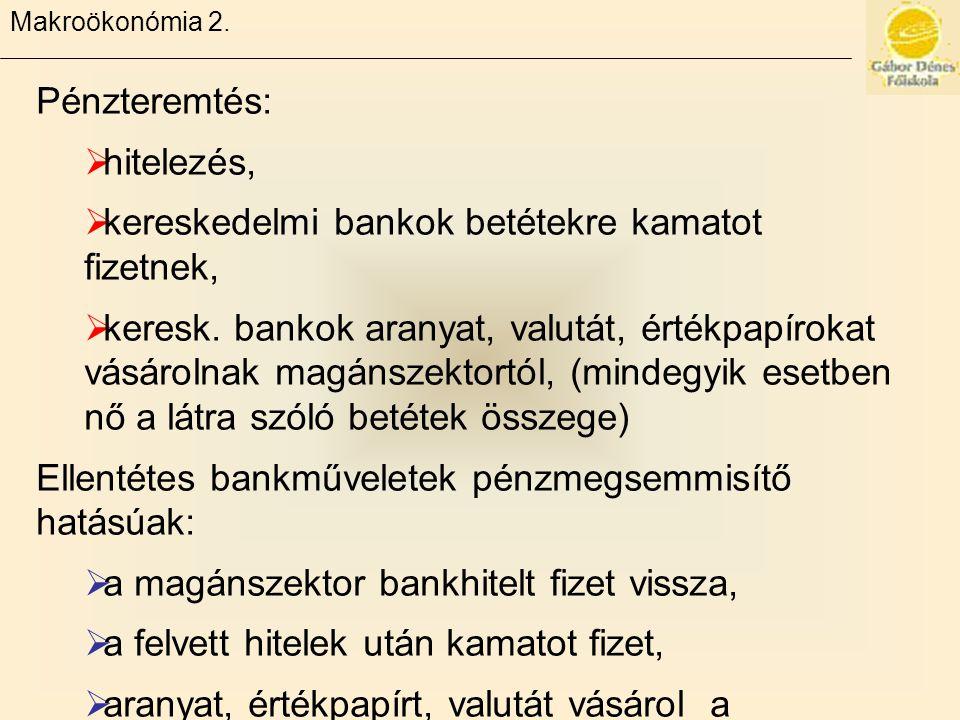 Makroökonómia 2. Pénzteremtés:  hitelezés,  kereskedelmi bankok betétekre kamatot fizetnek,  keresk. bankok aranyat, valutát, értékpapírokat vásáro