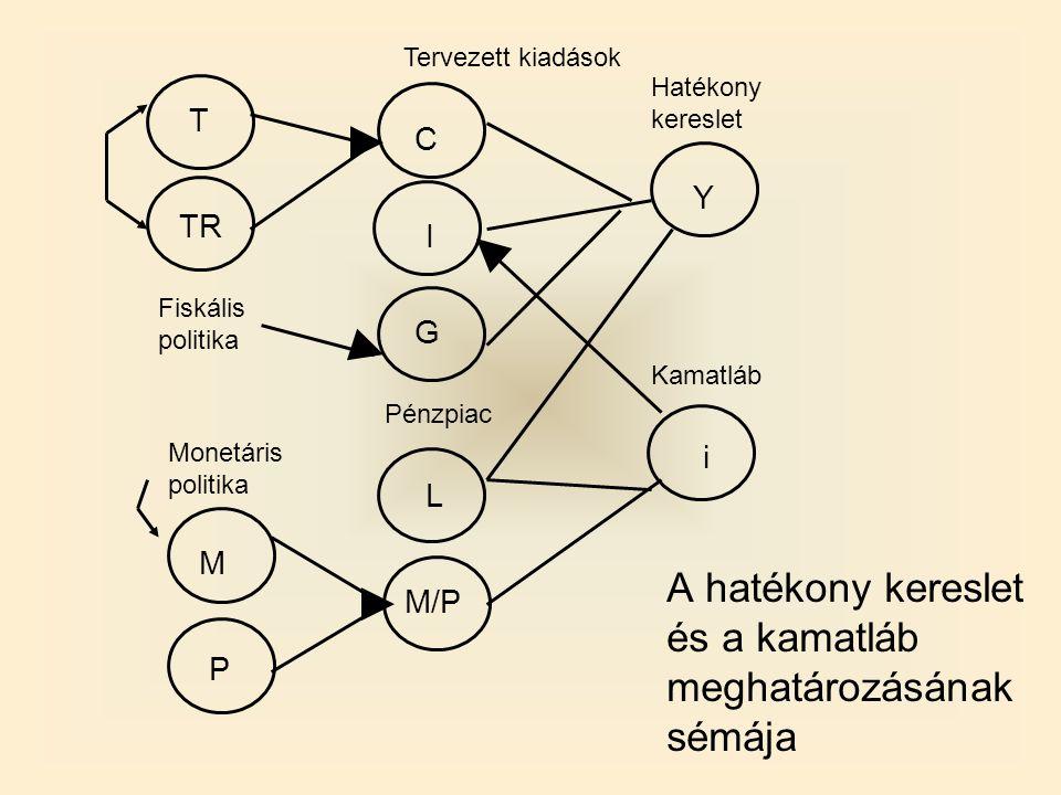 A hatékony kereslet és a kamatláb meghatározásának sémája Fiskális politika Pénzpiac Monetáris politika Kamatláb Hatékony kereslet T TR M P M/P L G I