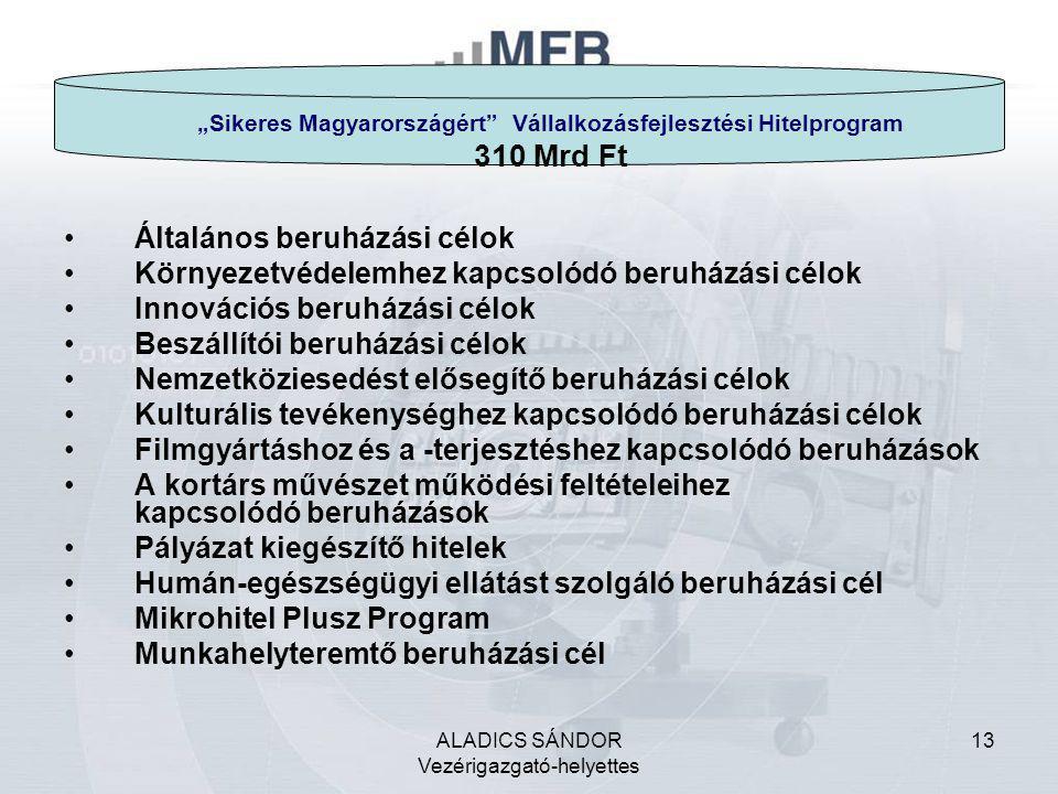"""ALADICS SÁNDOR Vezérigazgató-helyettes 13 """"Sikeres Magyarországért"""" Vállalkozásfejlesztési Hitelprogram 310 Mrd Ft •Általános beruházási célok •Környe"""