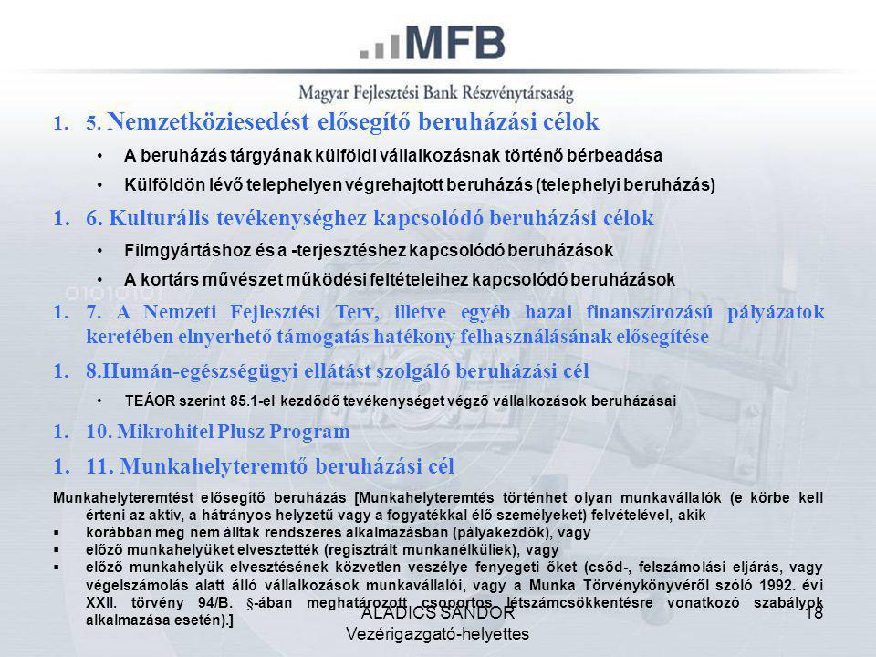 ALADICS SÁNDOR Vezérigazgató-helyettes 18 1.5. Nemzetköziesedést elősegítő beruházási célok •A beruházás tárgyának külföldi vállalkozásnak történő bér