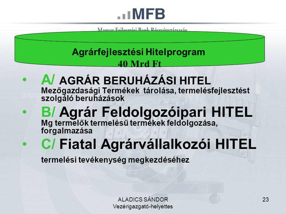 ALADICS SÁNDOR Vezérigazgató-helyettes 23 •A/ AGRÁR BERUHÁZÁSI HITEL Mezőgazdasági Termékek tárolása, termelésfejlesztést szolgáló beruházások •B/ Agr