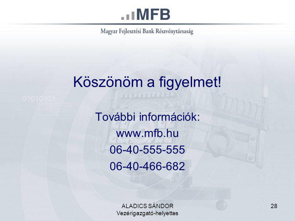 ALADICS SÁNDOR Vezérigazgató-helyettes 28 Köszönöm a figyelmet! További információk: www.mfb.hu 06-40-555-555 06-40-466-682