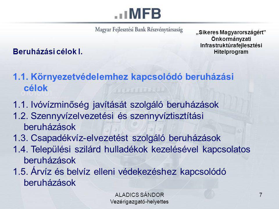 """ALADICS SÁNDOR Vezérigazgató-helyettes 7 """"Sikeres Magyarországért"""" Önkormányzati Infrastruktúrafejlesztési Hitelprogram 1.1. Környezetvédelemhez kapcs"""