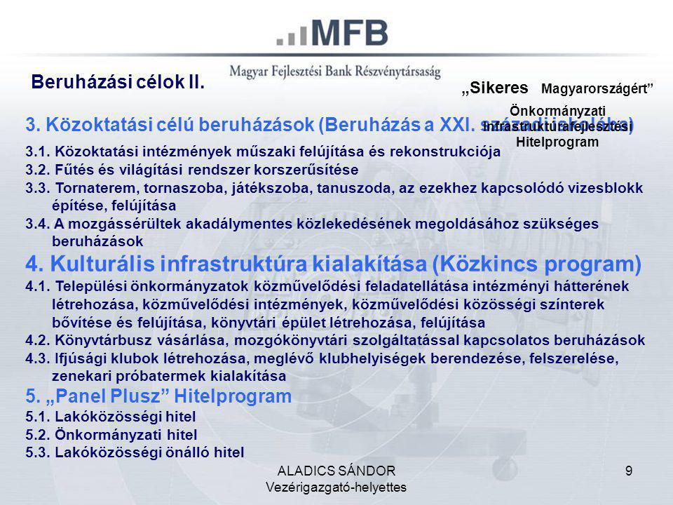 ALADICS SÁNDOR Vezérigazgató-helyettes 9 Beruházási célok II. 3. Közoktatási célú beruházások (Beruházás a XXI. századi iskolába) 3.1. Közoktatási int