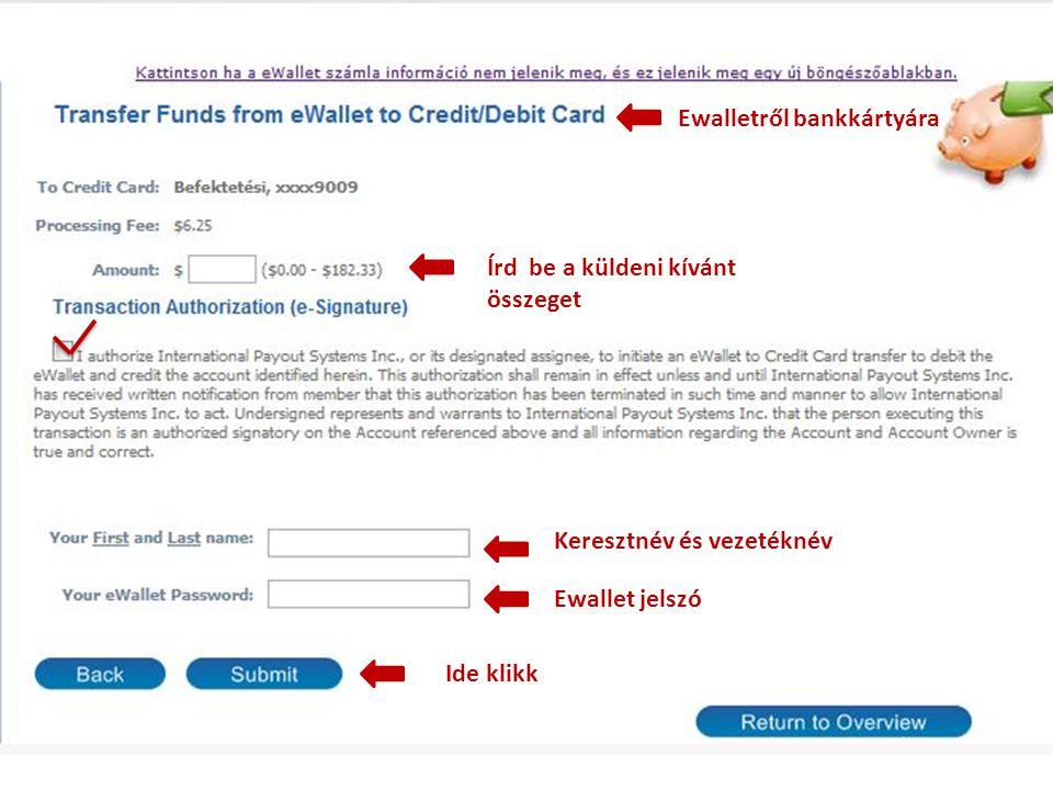 Ewalletről bankkártyára Írd be a küldeni kívánt összeget Keresztnév és vezetéknév Ewallet jelszó Ide klikk