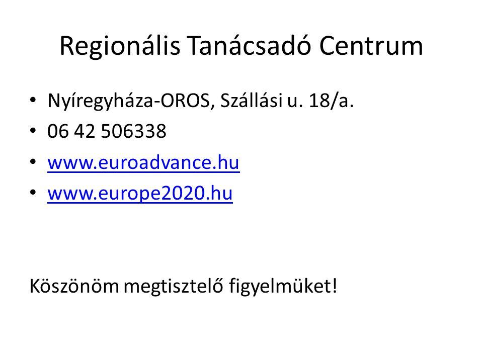 Regionális Tanácsadó Centrum • Nyíregyháza-OROS, Szállási u. 18/a. • 06 42 506338 • www.euroadvance.hu www.euroadvance.hu • www.europe2020.hu www.euro