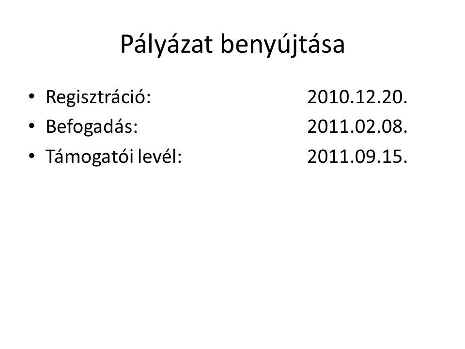 Pályázat benyújtása • Regisztráció: 2010.12.20. • Befogadás: 2011.02.08. • Támogatói levél: 2011.09.15.