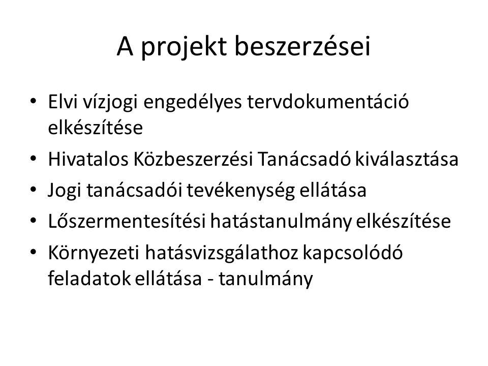 A projekt beszerzései • Elvi vízjogi engedélyes tervdokumentáció elkészítése • Hivatalos Közbeszerzési Tanácsadó kiválasztása • Jogi tanácsadói tevéke