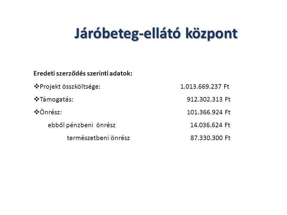 Járóbeteg-ellátó központ Eredeti szerződés szerinti adatok:  Projekt összköltsége: 1.013.669.237 Ft  Támogatás: 912.302.313 Ft  Önrész: 101.366.924