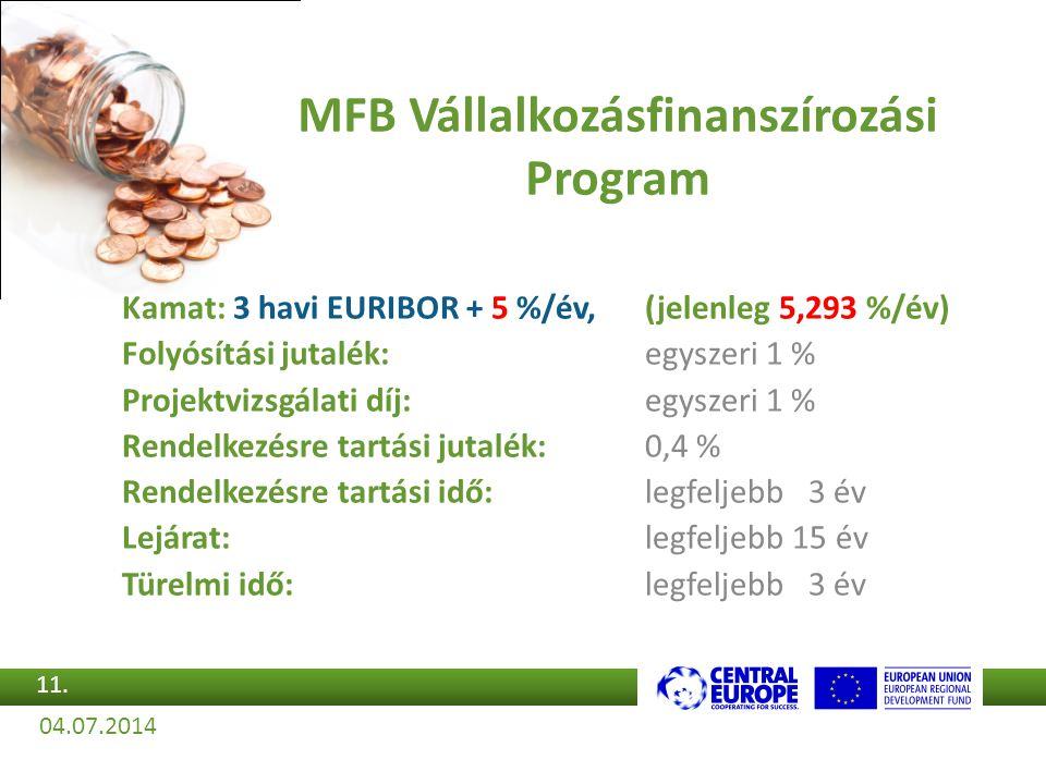 Kamat: 3 havi EURIBOR + 5 %/év,(jelenleg 5,293 %/év) Folyósítási jutalék:egyszeri 1 % Projektvizsgálati díj:egyszeri 1 % Rendelkezésre tartási jutalék