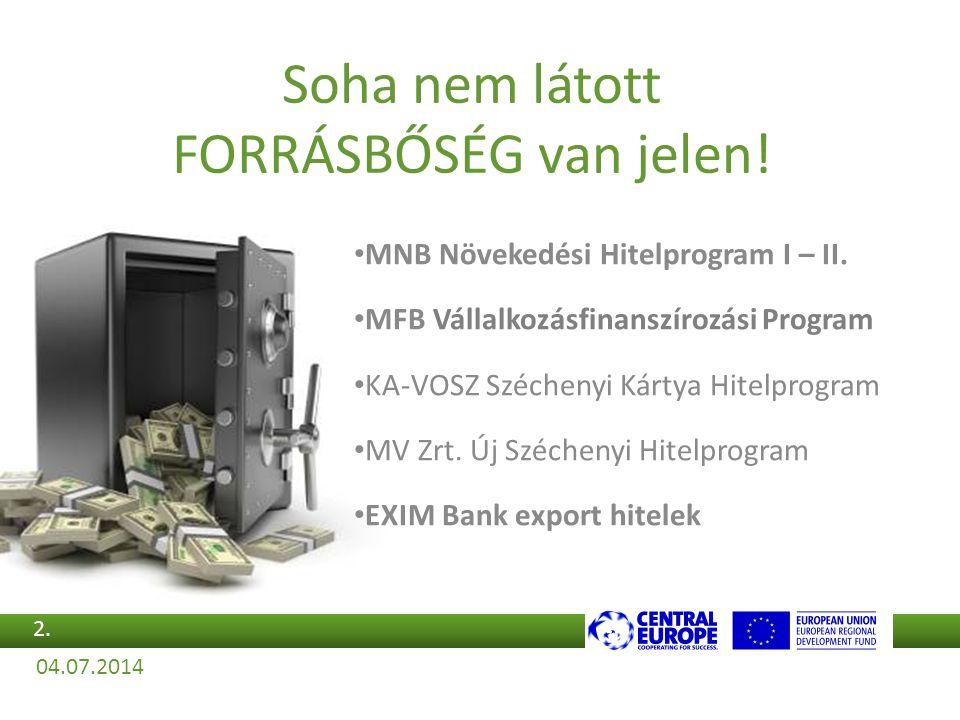 Soha nem látott FORRÁSBŐSÉG van jelen! •M•MNB Növekedési Hitelprogram I – II. •M•MFB Vállalkozásfinanszírozási Program •K•KA-VOSZ Széchenyi Kártya Hit