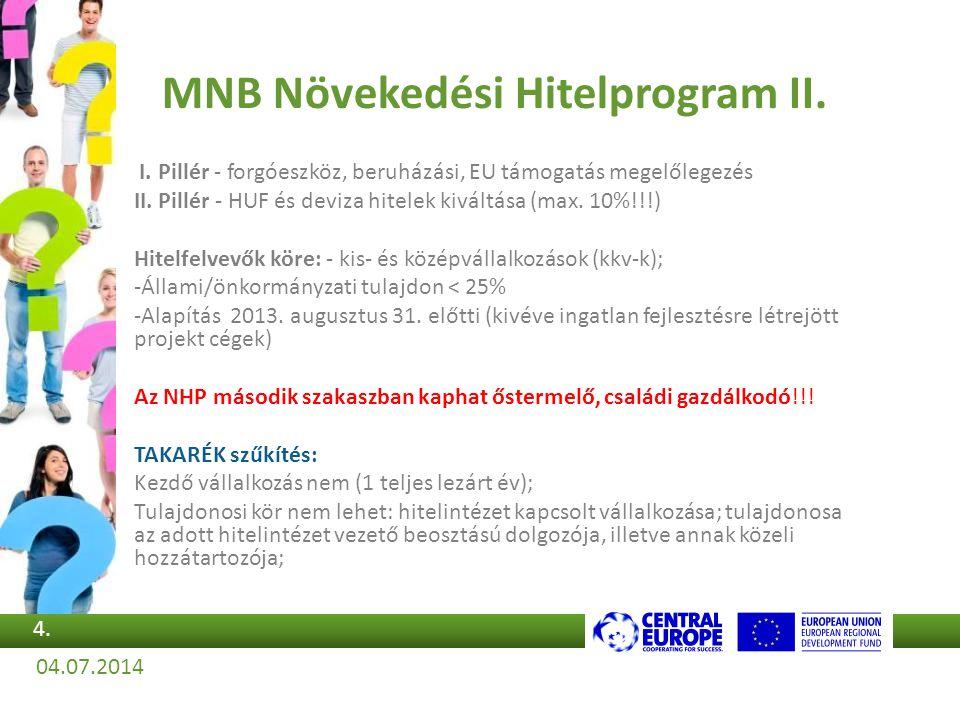 MNB Növekedési Hitelprogram II. I. Pillér - forgóeszköz, beruházási, EU támogatás megelőlegezés II. Pillér - HUF és deviza hitelek kiváltása (max. 10%