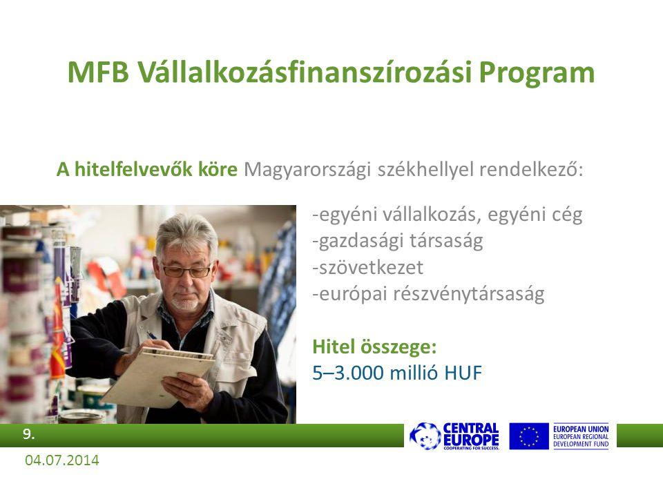 A hitelfelvevők köre Magyarországi székhellyel rendelkező: MFB Vállalkozásfinanszírozási Program -egyéni vállalkozás, egyéni cég -gazdasági társaság -