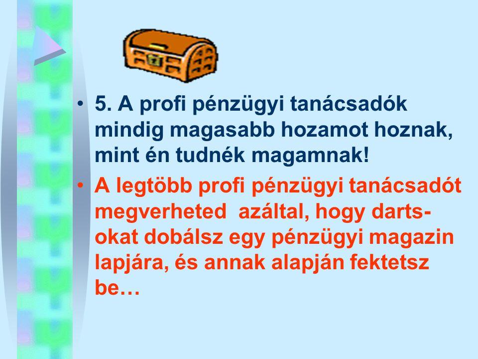 •5. A profi pénzügyi tanácsadók mindig magasabb hozamot hoznak, mint én tudnék magamnak! •A legtöbb profi pénzügyi tanácsadót megverheted azáltal, hog