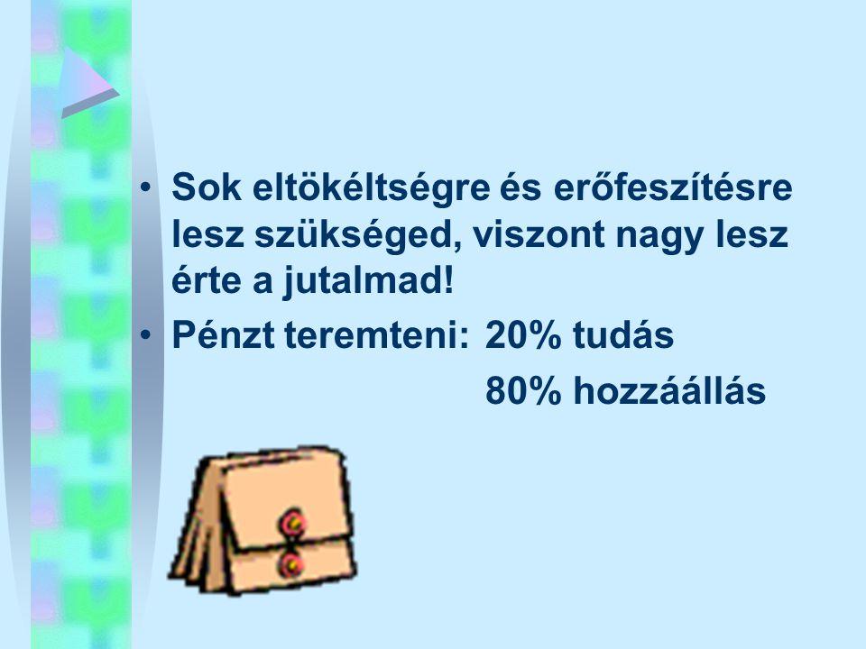 •Sok eltökéltségre és erőfeszítésre lesz szükséged, viszont nagy lesz érte a jutalmad! •Pénzt teremteni: 20% tudás 80% hozzáállás