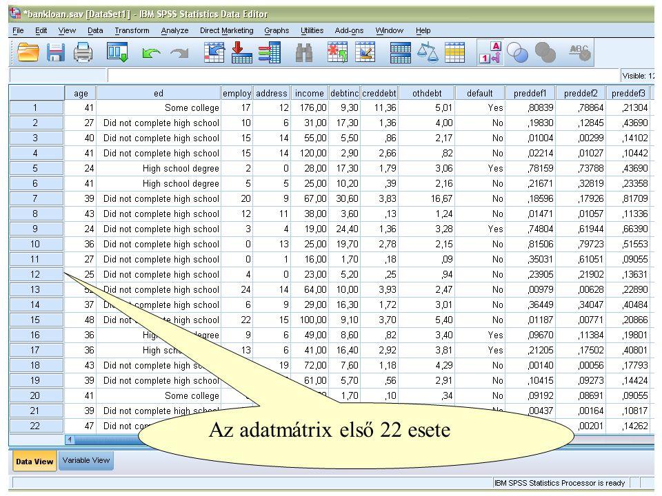 Az adatmátrix első 22 esete