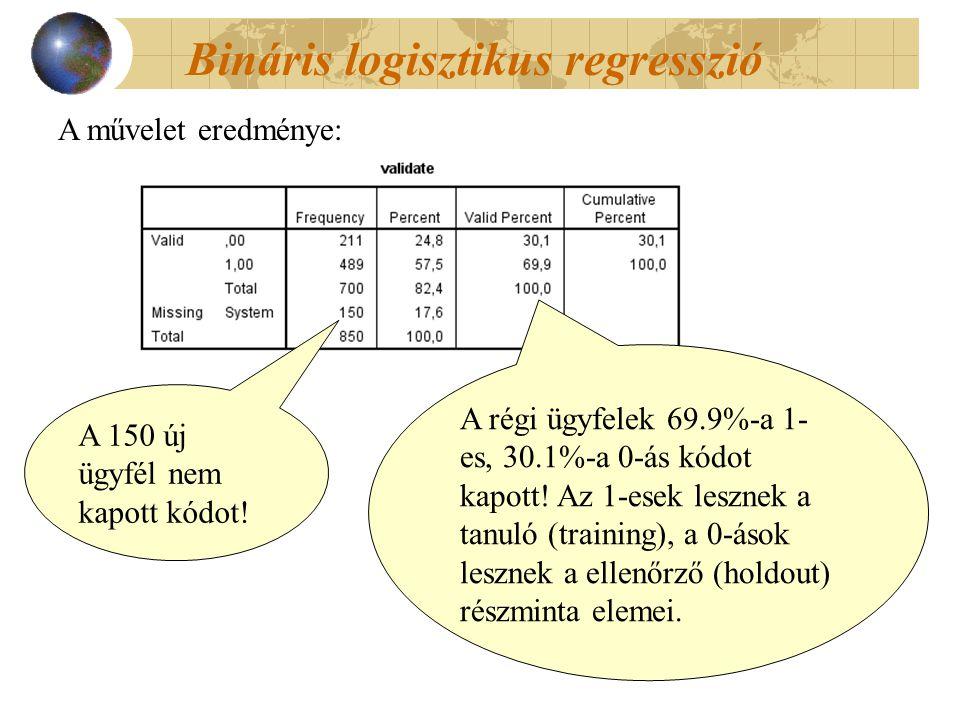 Bináris logisztikus regresszió A művelet eredménye: A 150 új ügyfél nem kapott kódot.