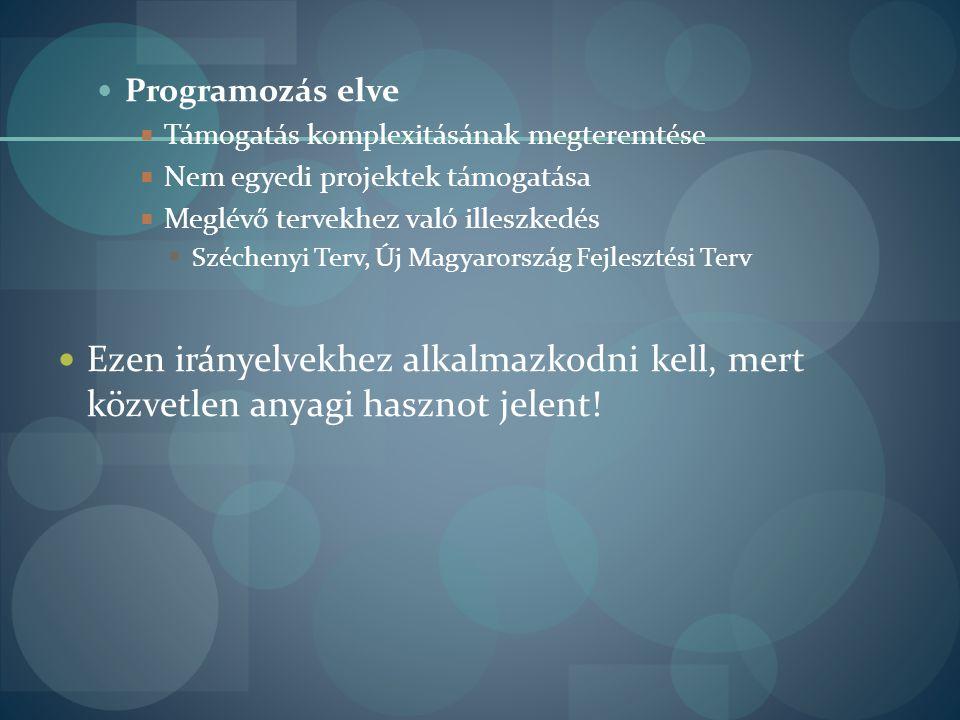  Programozás elve  Támogatás komplexitásának megteremtése  Nem egyedi projektek támogatása  Meglévő tervekhez való illeszkedés  Széchenyi Terv, Ú