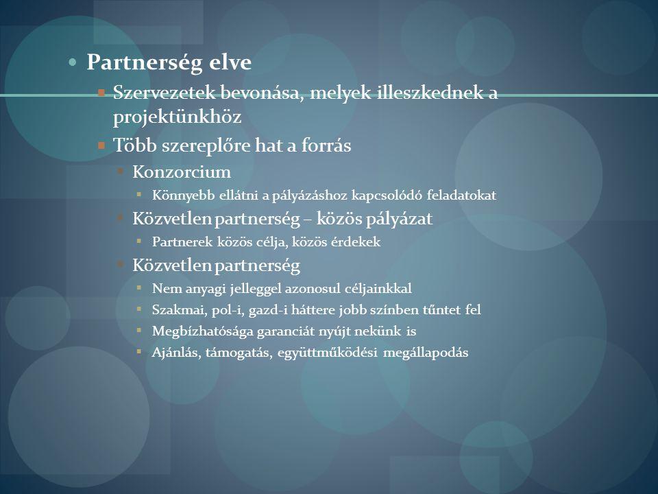  Partnerség elve  Szervezetek bevonása, melyek illeszkednek a projektünkhöz  Több szereplőre hat a forrás  Konzorcium  Könnyebb ellátni a pályázá