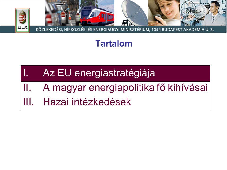"""Az EU Energiastratégiája a második energiastratégiai felülvizsgálatról szóló közlemény alapján A Bizottság """"Biztonsági és Szolidaritási Akciótervet javasol a következő 5 területen  infrastruktúra és ellátás-diverzifikáció;  energia külkapcsolatok;  kőolaj- és földgáztartalékok képzése;  energiahatékonyság;  az EU-n belüli források jobb kihasználása."""