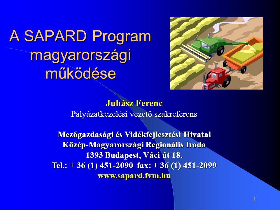 1 A SAPARD Program magyarországi működése Juhász Ferenc Pályázatkezelési vezető szakreferens Mezőgazdasági és Vidékfejlesztési Hivatal Közép-Magyarors