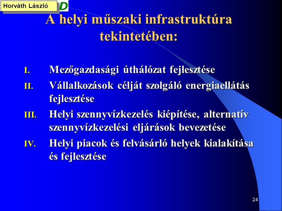 24 A helyi műszaki infrastruktúra tekintetében: I. Mezőgazdasági úthálózat fejlesztése II. Vállalkozások célját szolgáló energiaellátás fejlesztése II