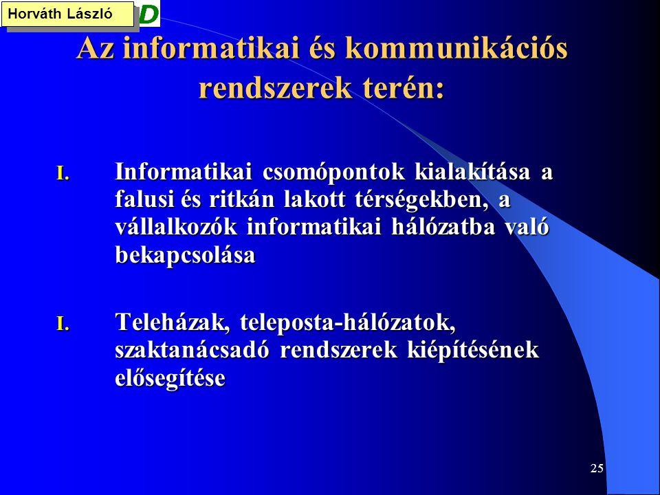 25 Az informatikai és kommunikációs rendszerek terén: I. Informatikai csomópontok kialakítása a falusi és ritkán lakott térségekben, a vállalkozók inf