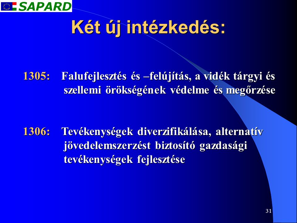 31 Két új intézkedés: 1305: Falufejlesztés és –felújítás, a vidék tárgyi és szellemi örökségének védelme és megőrzése 1306: Tevékenységek diverzifikál