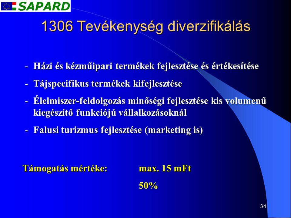 34 1306 Tevékenység diverzifikálás -Házi és kézműipari termékek fejlesztése és értékesítése -Tájspecifikus termékek kifejlesztése -Élelmiszer-feldolgo