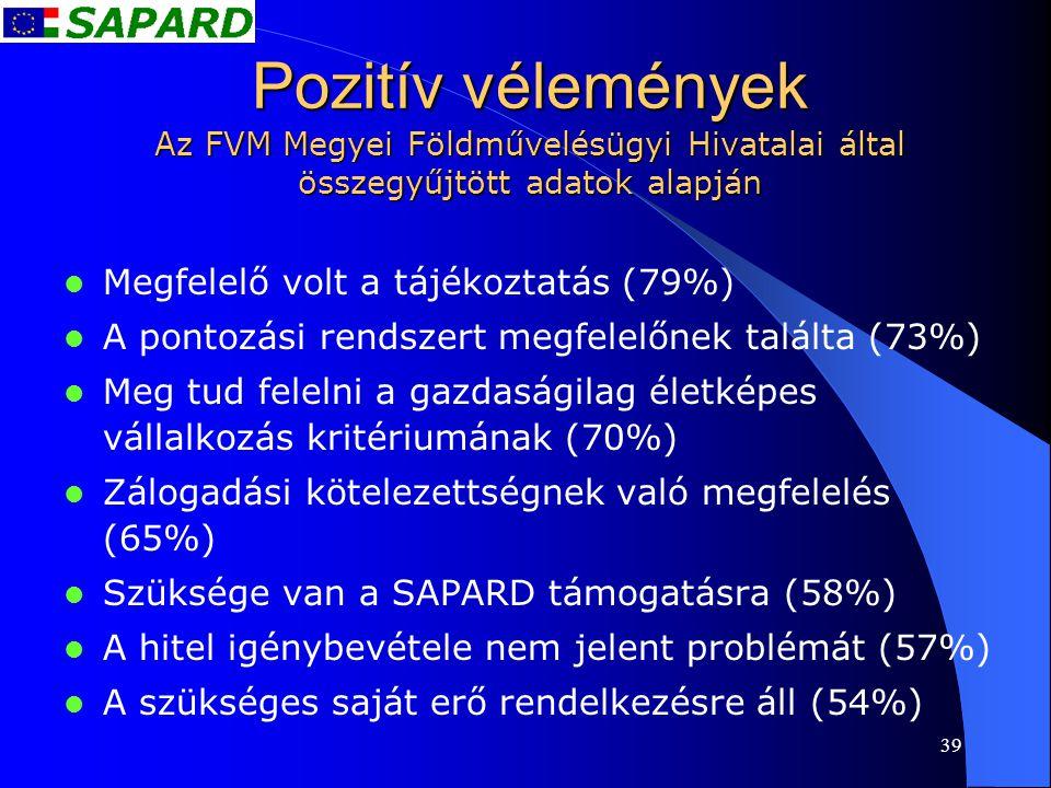 39 Pozitív vélemények Az FVM Megyei Földművelésügyi Hivatalai által összegyűjtött adatok alapján  Megfelelő volt a tájékoztatás (79%)  A pontozási r