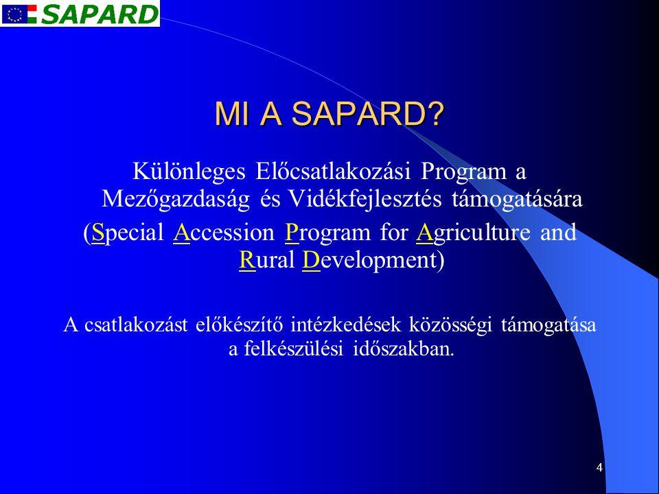 4 MI A SAPARD? Különleges Előcsatlakozási Program a Mezőgazdaság és Vidékfejlesztés támogatására (Special Accession Program for Agriculture and Rural