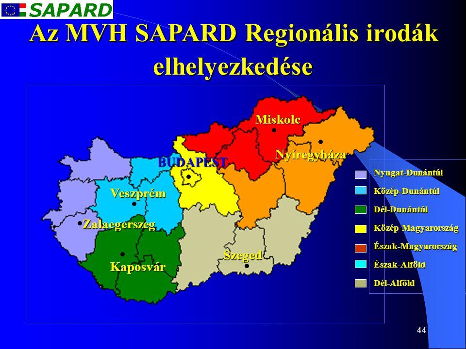 44 Az MVH SAPARD Regionális irodák elhelyezkedése Nyugat-DunántúlKözép-DunántúlDél-DunántúlKözép-MagyarországÉszak-MagyarországÉszak-AlföldDél-Alföld