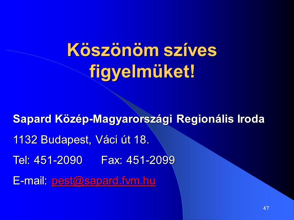 47 Köszönöm szíves figyelmüket! Sapard Közép-Magyarországi Regionális Iroda 1132 Budapest, Váci út 18. Tel: 451-2090Fax: 451-2099 E-mail: pest@sapard.