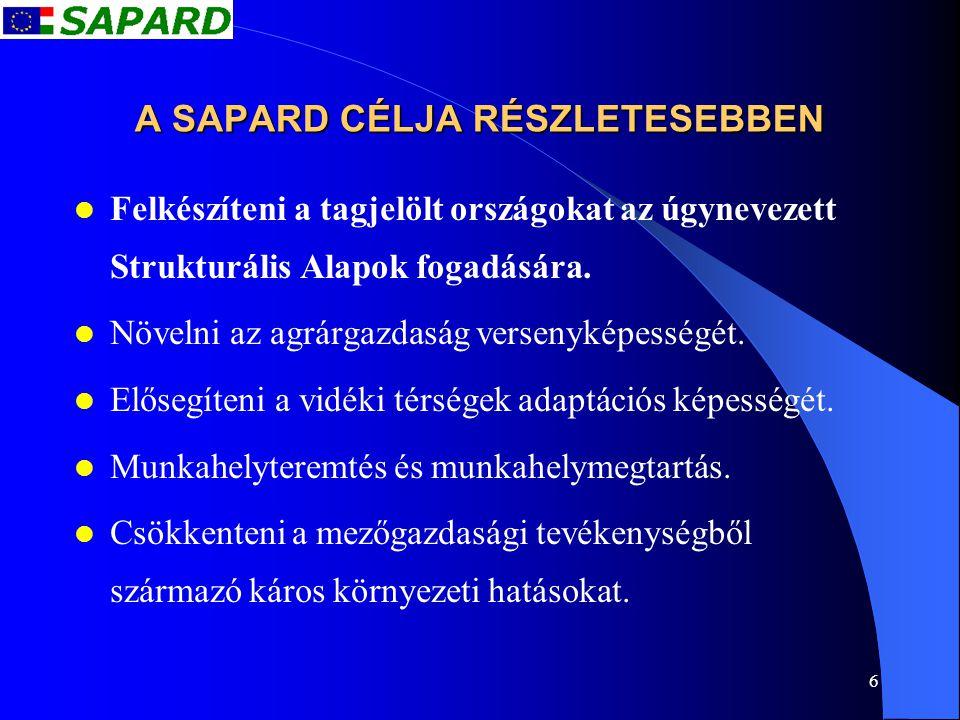 6 A SAPARD CÉLJA RÉSZLETESEBBEN  Felkészíteni a tagjelölt országokat az úgynevezett Strukturális Alapok fogadására.  Növelni az agrárgazdaság versen