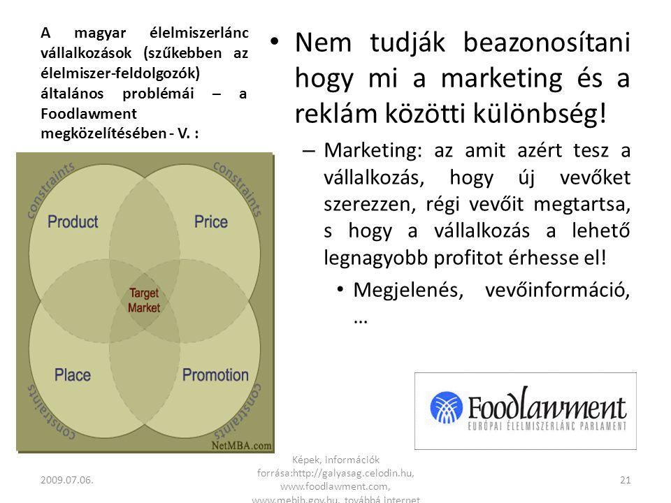 A magyar élelmiszerlánc vállalkozások (szűkebben az élelmiszer-feldolgozók) általános problémái – a Foodlawment megközelítésében - V.