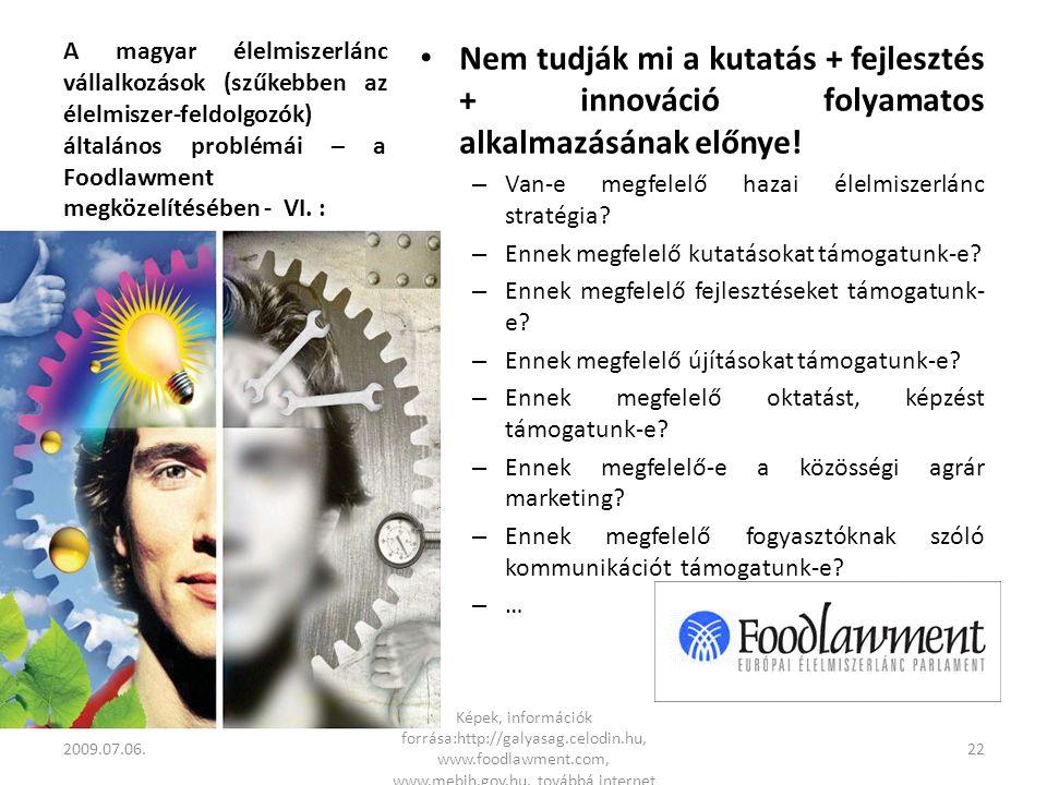 A magyar élelmiszerlánc vállalkozások (szűkebben az élelmiszer-feldolgozók) általános problémái – a Foodlawment megközelítésében - VI.