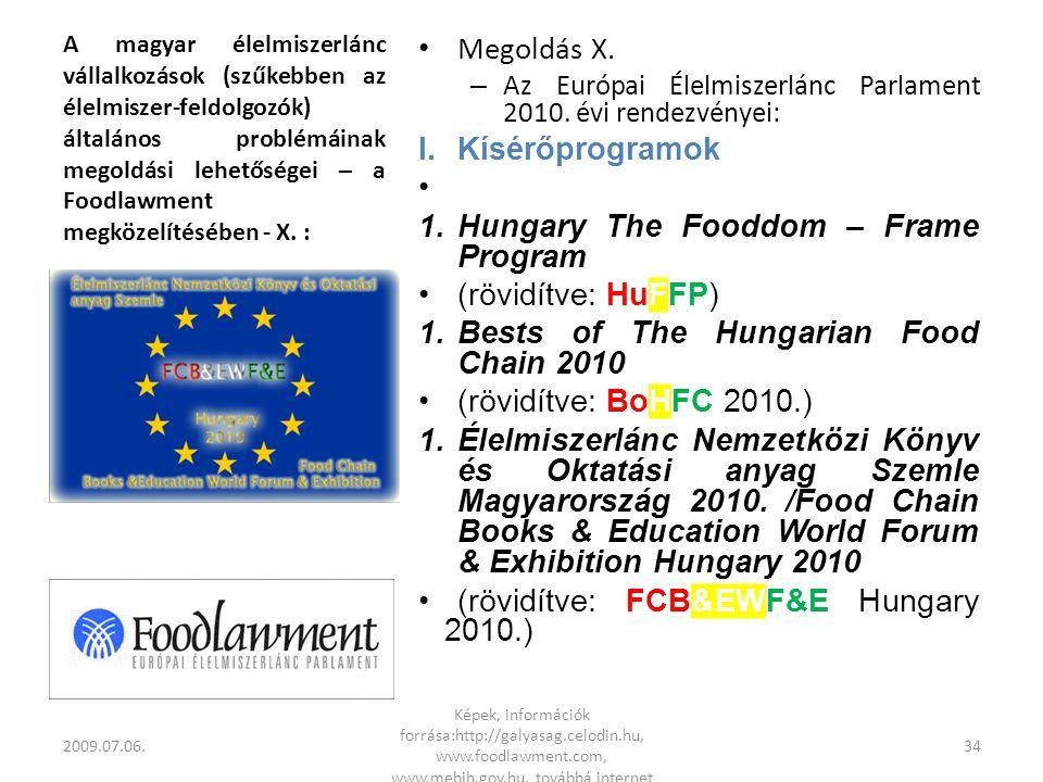 A magyar élelmiszerlánc vállalkozások (szűkebben az élelmiszer-feldolgozók) általános problémáinak megoldási lehetőségei – a Foodlawment megközelítésében - X.