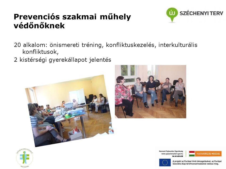 Prevenciós szakmai műhely védőnőknek 20 alkalom: önismereti tréning, konfliktuskezelés, interkulturális konfliktusok, 2 kistérségi gyerekállapot jelen