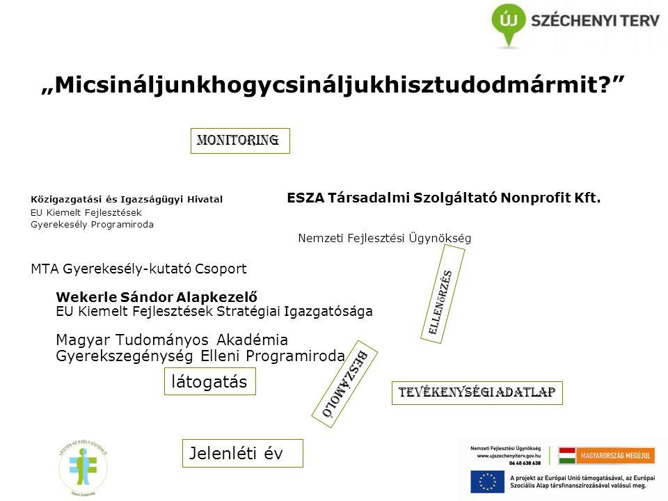 """""""Micsináljunkhogycsináljukhisztudodmármit?"""" Közigazgatási és Igazságügyi Hivatal ESZA Társadalmi Szolgáltató Nonprofit Kft. EU Kiemelt Fejlesztések Gy"""