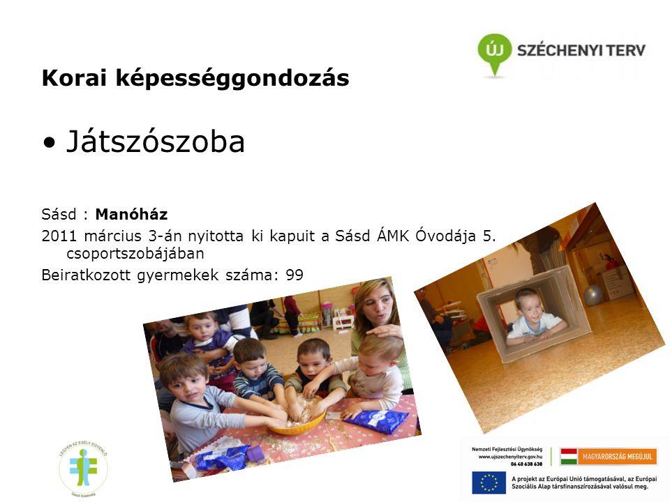 Korai képességgondozás •Játszószoba Sásd : Manóház 2011 március 3-án nyitotta ki kapuit a Sásd ÁMK Óvodája 5. csoportszobájában Beiratkozott gyermekek