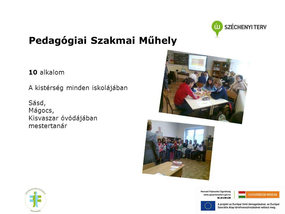 Pedagógiai Szakmai Műhely 10 alkalom A kistérség minden iskolájában Sásd, Mágocs, Kisvaszar óvódájában mestertanár