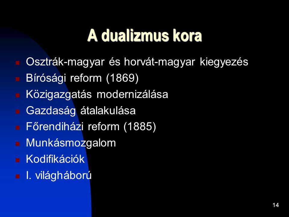 14 A dualizmus kora  Osztrák-magyar és horvát-magyar kiegyezés  Bírósági reform (1869)  Közigazgatás modernizálása  Gazdaság átalakulása  Főrendiházi reform (1885)  Munkásmozgalom  Kodifikációk  I.